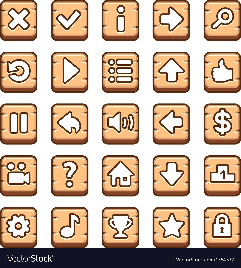 Wooden game buttons vector | Price: 1 Credit (USD $1)