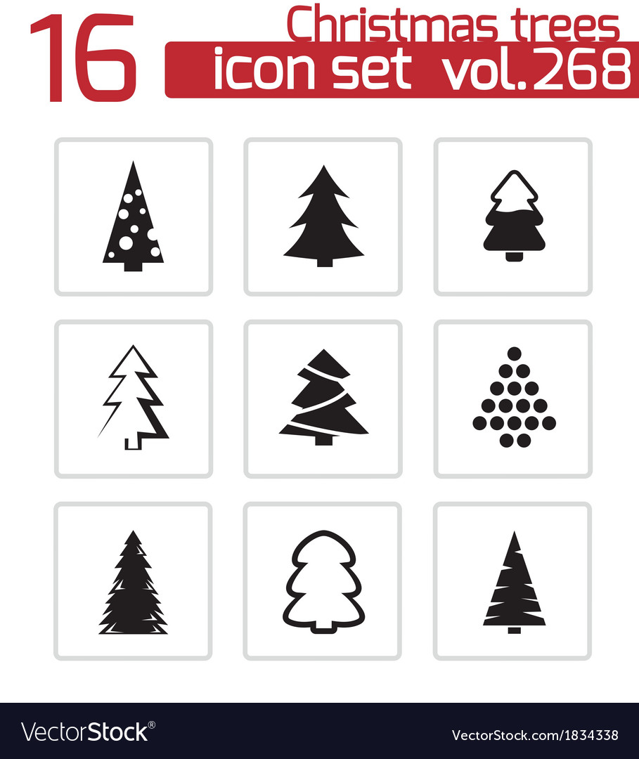 Black christmas tree icons set vector | Price: 1 Credit (USD $1)