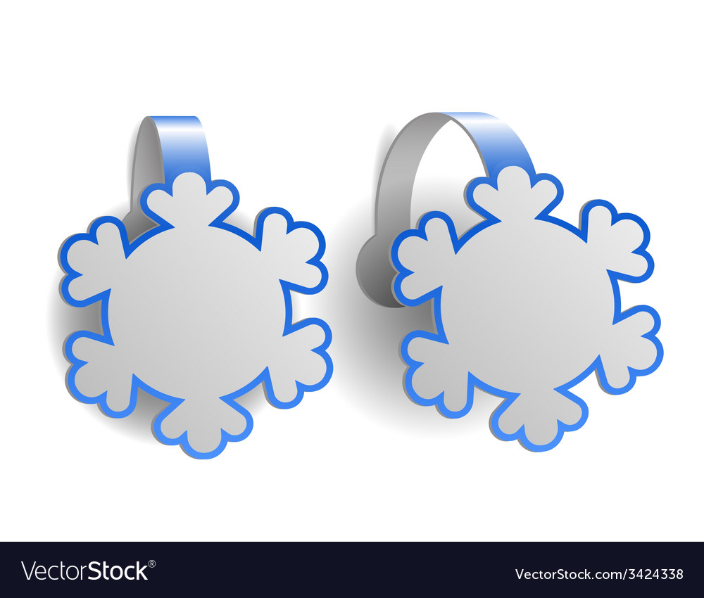 Blue advertising wobblers shaped like snowflakes vector | Price: 1 Credit (USD $1)