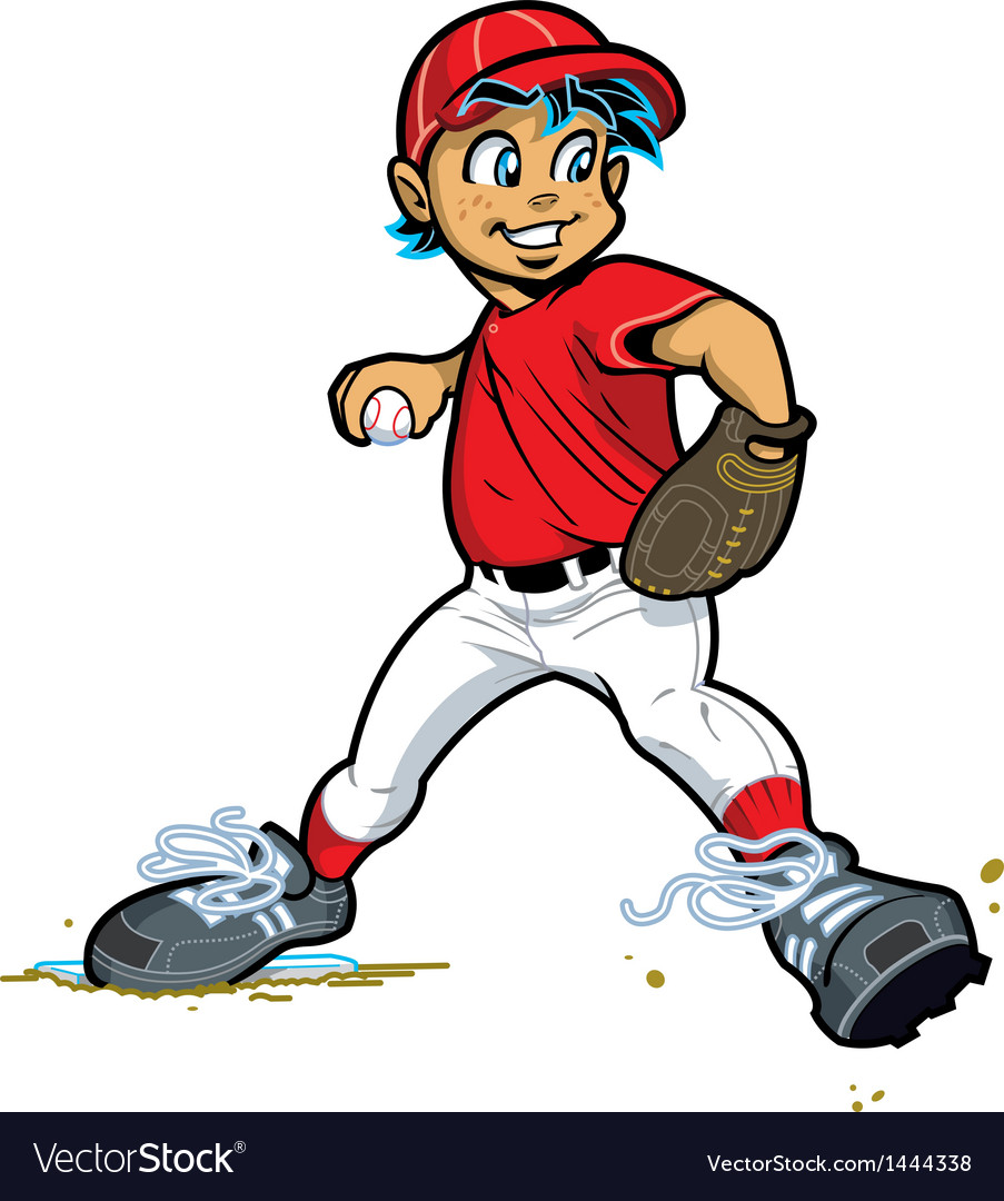 Boy baseball pitcher vector | Price: 1 Credit (USD $1)