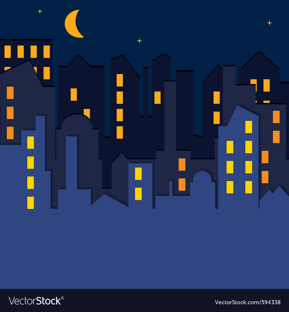 Cityscape at the night time vector | Price: 1 Credit (USD $1)