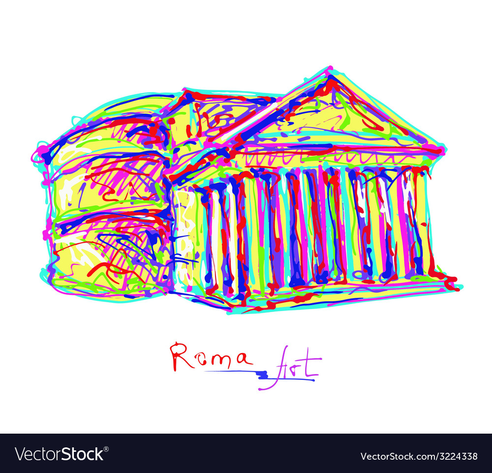 Famous place of rome italy original drawing in vector   Price: 1 Credit (USD $1)
