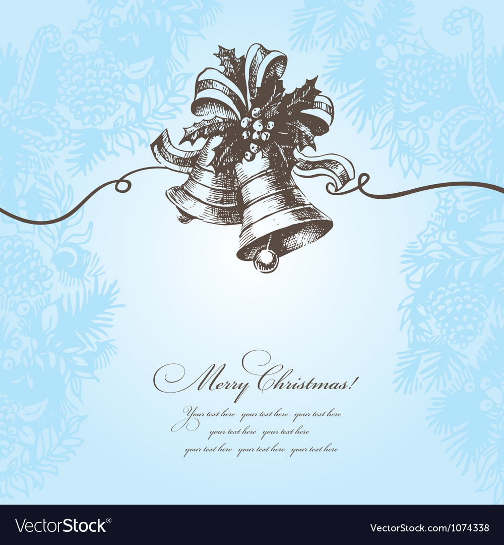 Hand drawn christmas background with bell vector | Price: 1 Credit (USD $1)