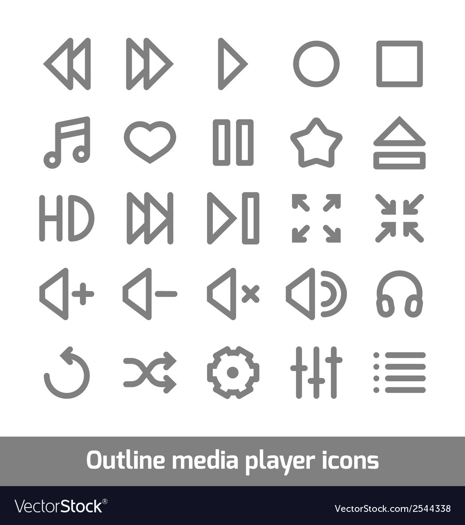 Outline media player icons set vector | Price: 1 Credit (USD $1)