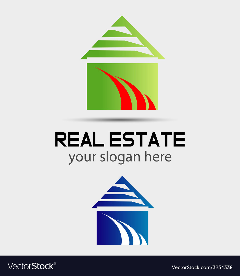 Real estate logo icon design template with house vector