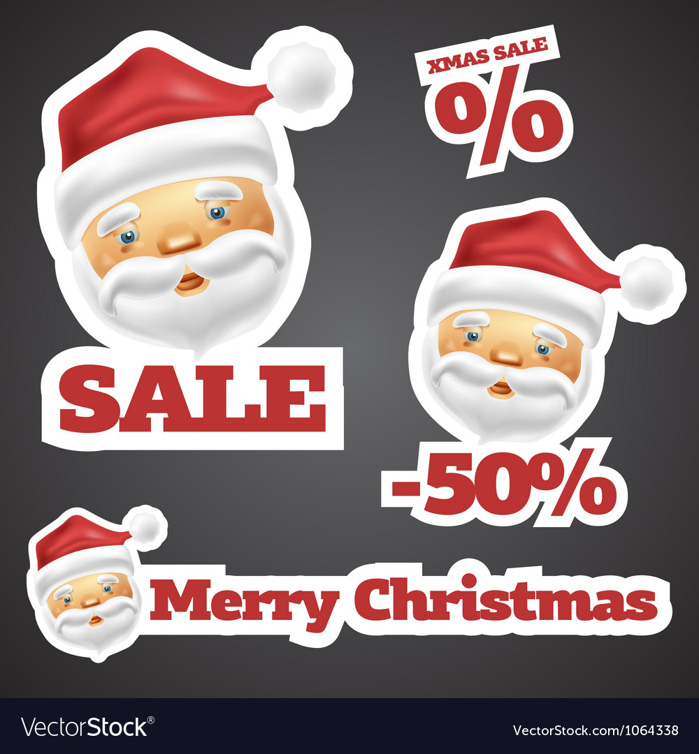 Santa claus discount sale stickers vector | Price: 3 Credit (USD $3)