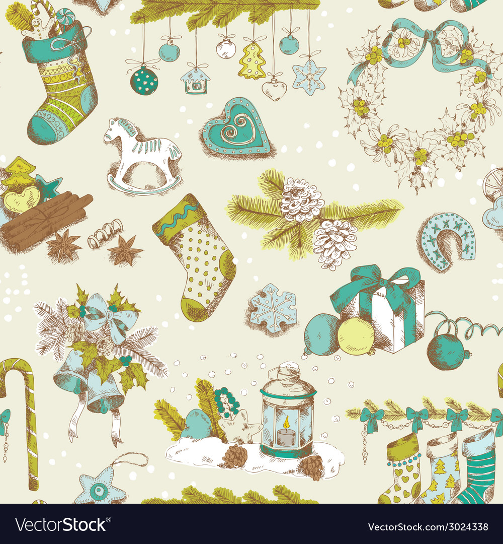 Seamless christmas pattern - hand drawn vector | Price: 1 Credit (USD $1)