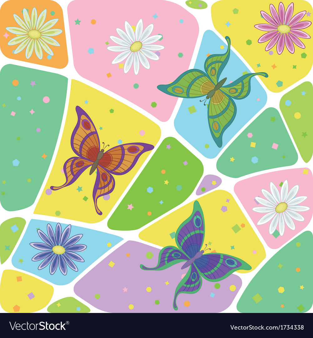Seamless flowers and butterflies vector | Price: 1 Credit (USD $1)