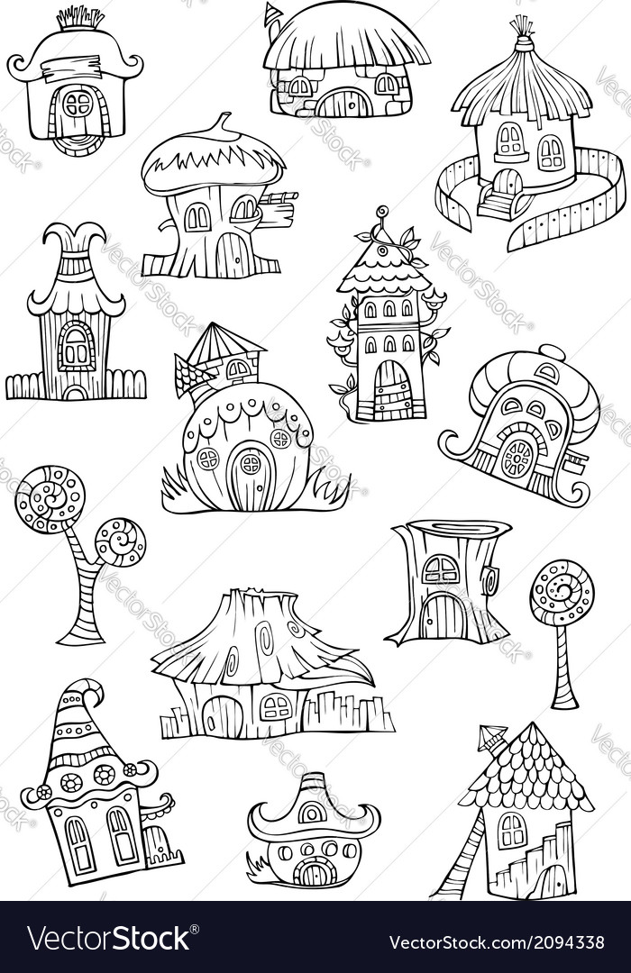 Sketch of cartoon houses vector | Price: 1 Credit (USD $1)