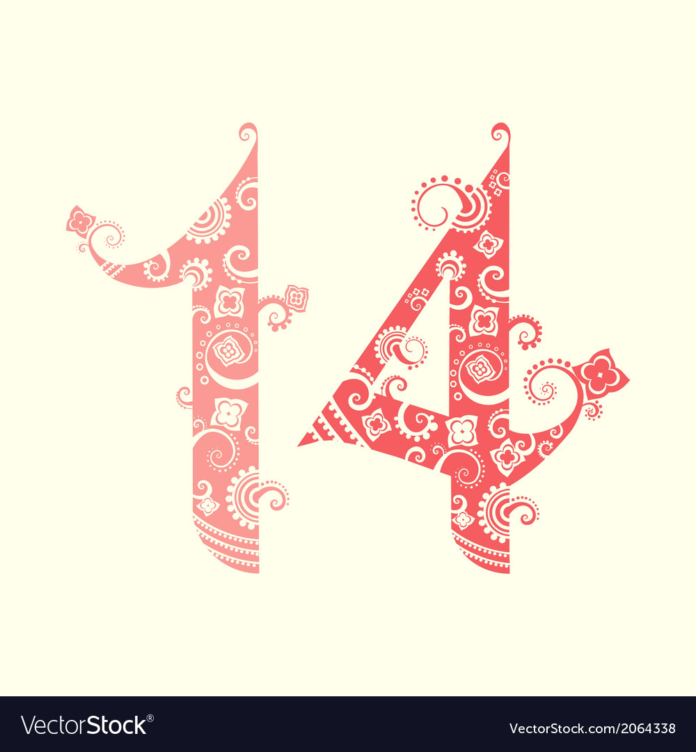 Valentines day fourteen ornate numbers vector   Price: 1 Credit (USD $1)