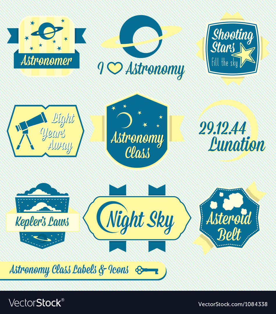 Vintage astronomy class labels and icons vector | Price: 1 Credit (USD $1)
