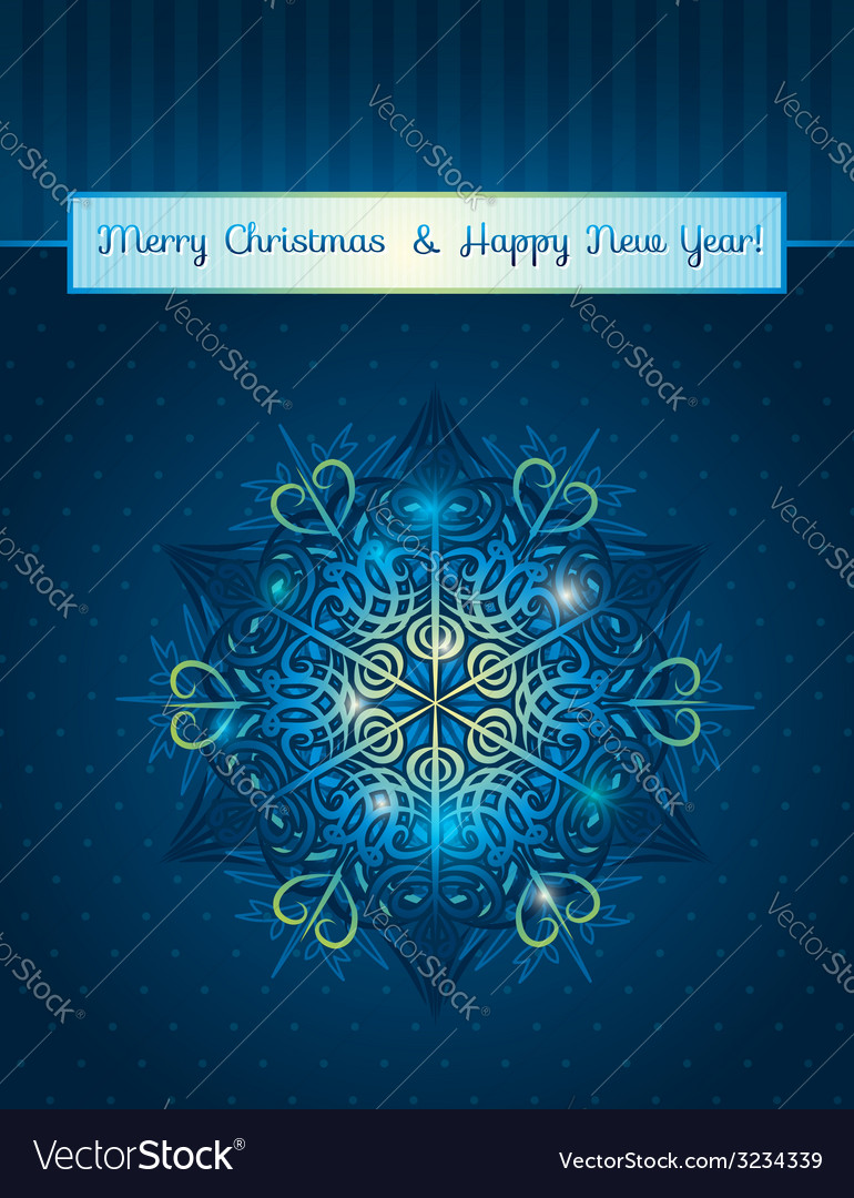 Blue background with big snowflake and text vector | Price: 1 Credit (USD $1)