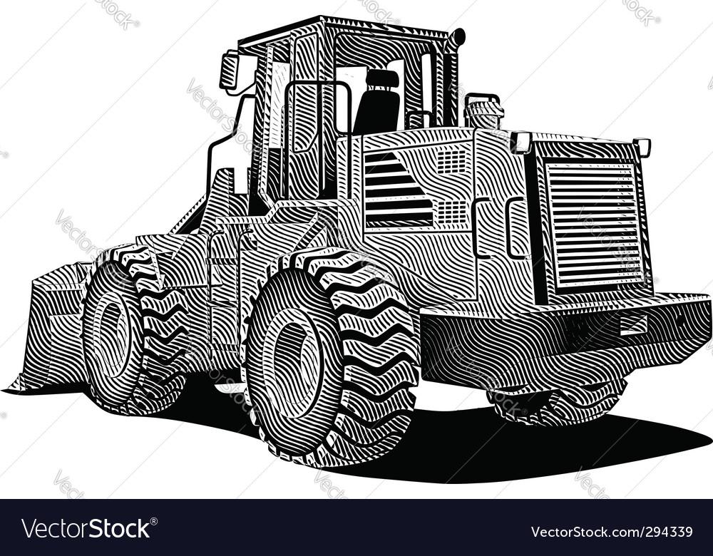 Bulldozer engraving vector | Price: 1 Credit (USD $1)