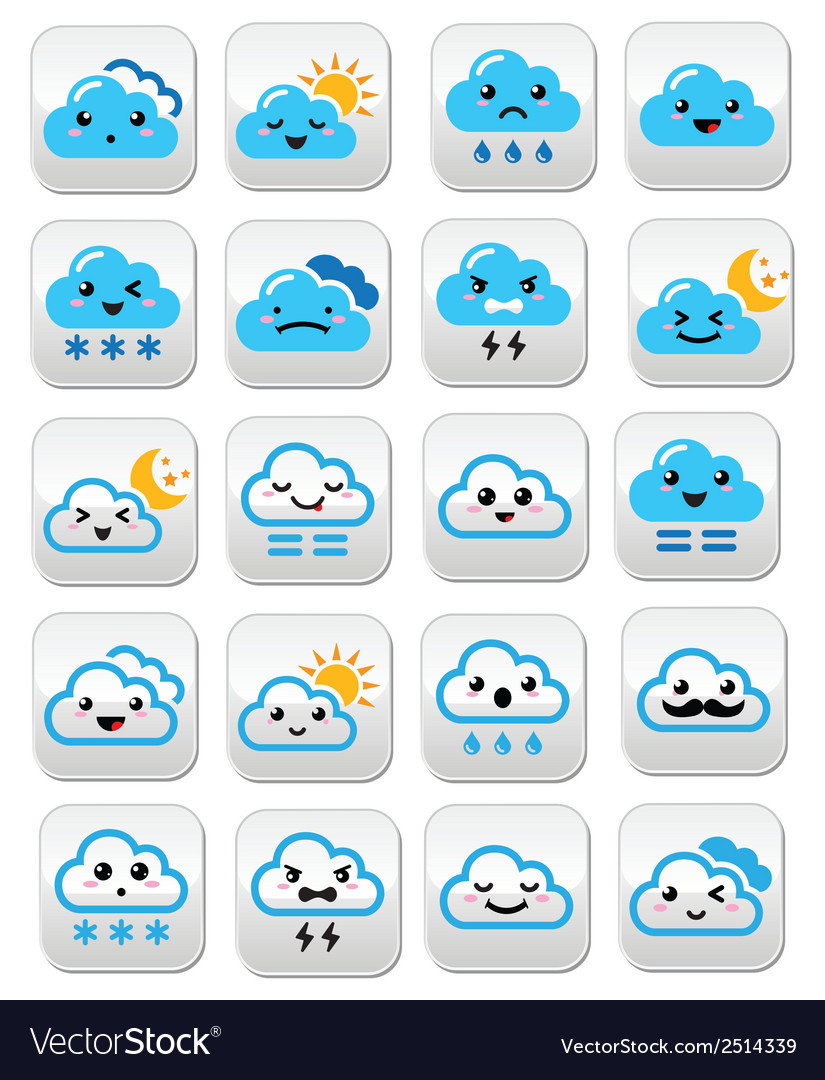 Cute cloud - kawaii manga buttons with different vector | Price: 1 Credit (USD $1)