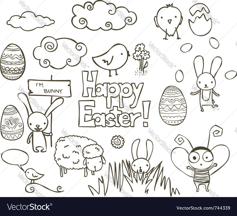 Easter doodle vector | Price: 1 Credit (USD $1)