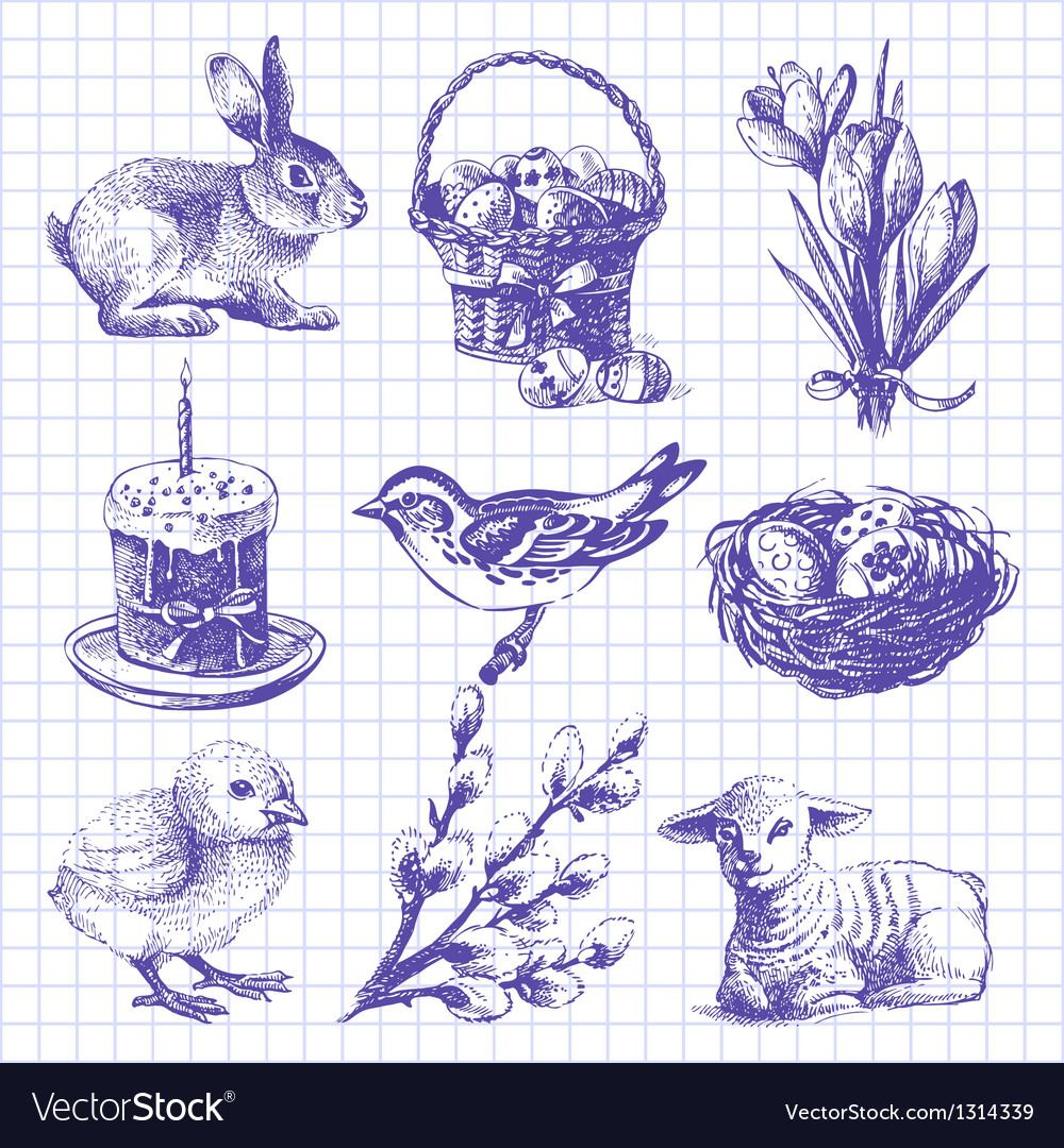 Easter set hand drawn ink vintage vector | Price: 1 Credit (USD $1)