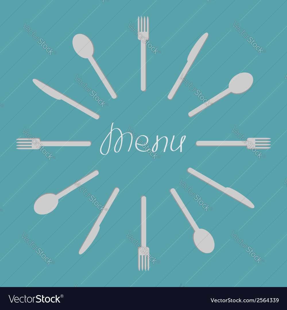 Fork knife spoon round frame menu cover template vector | Price: 1 Credit (USD $1)