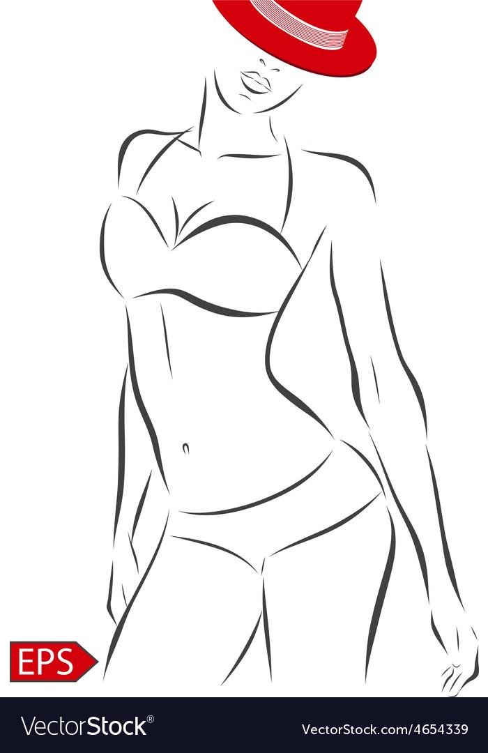 Girl in bikini on a white background vector | Price: 1 Credit (USD $1)