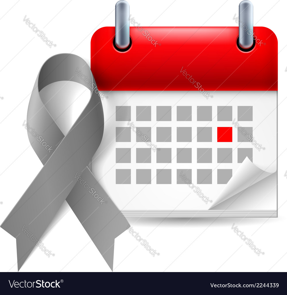 Gray awareness ribbon and calendar vector | Price: 1 Credit (USD $1)