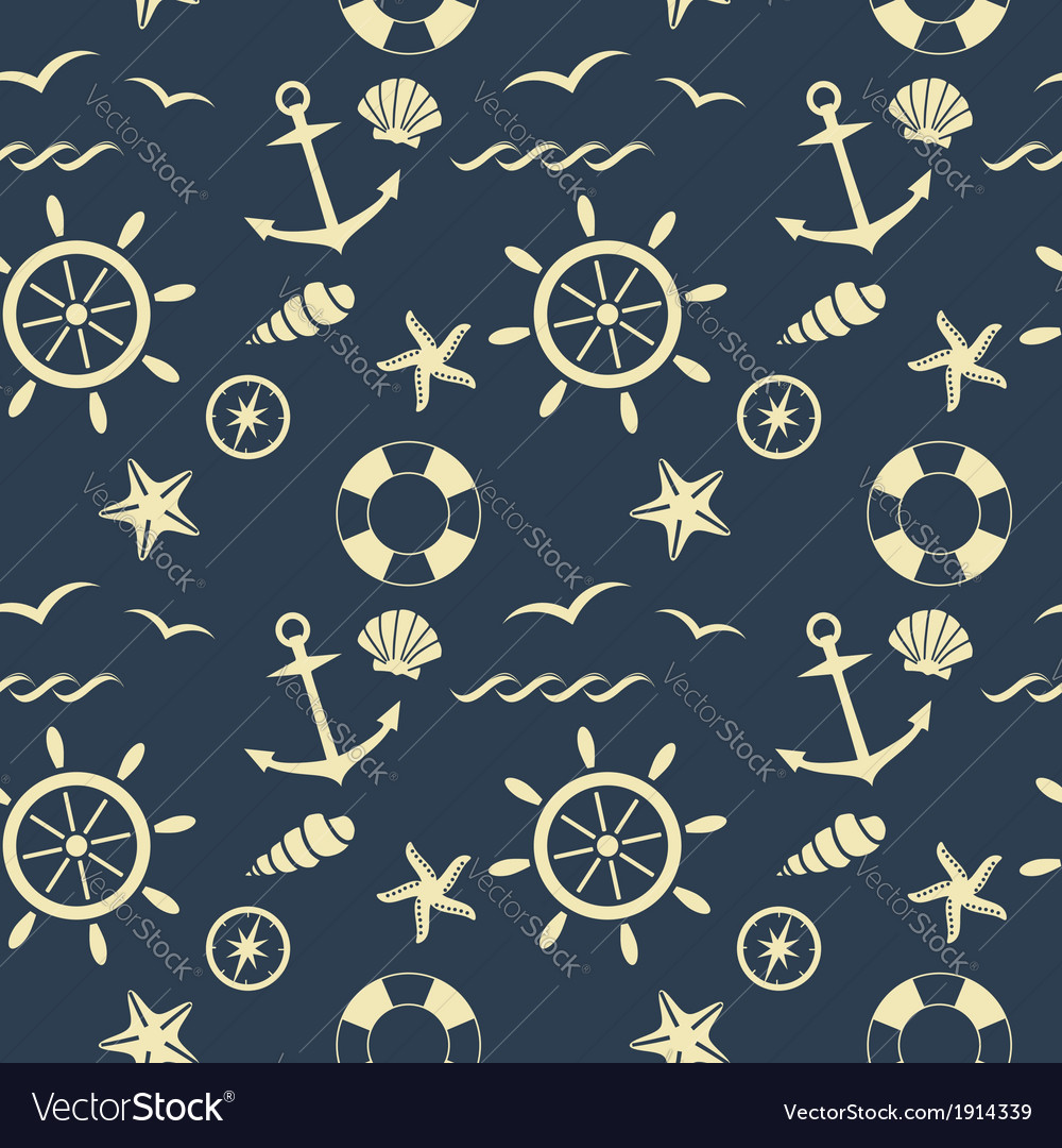 Nautical seamless pattern blue vector | Price: 1 Credit (USD $1)