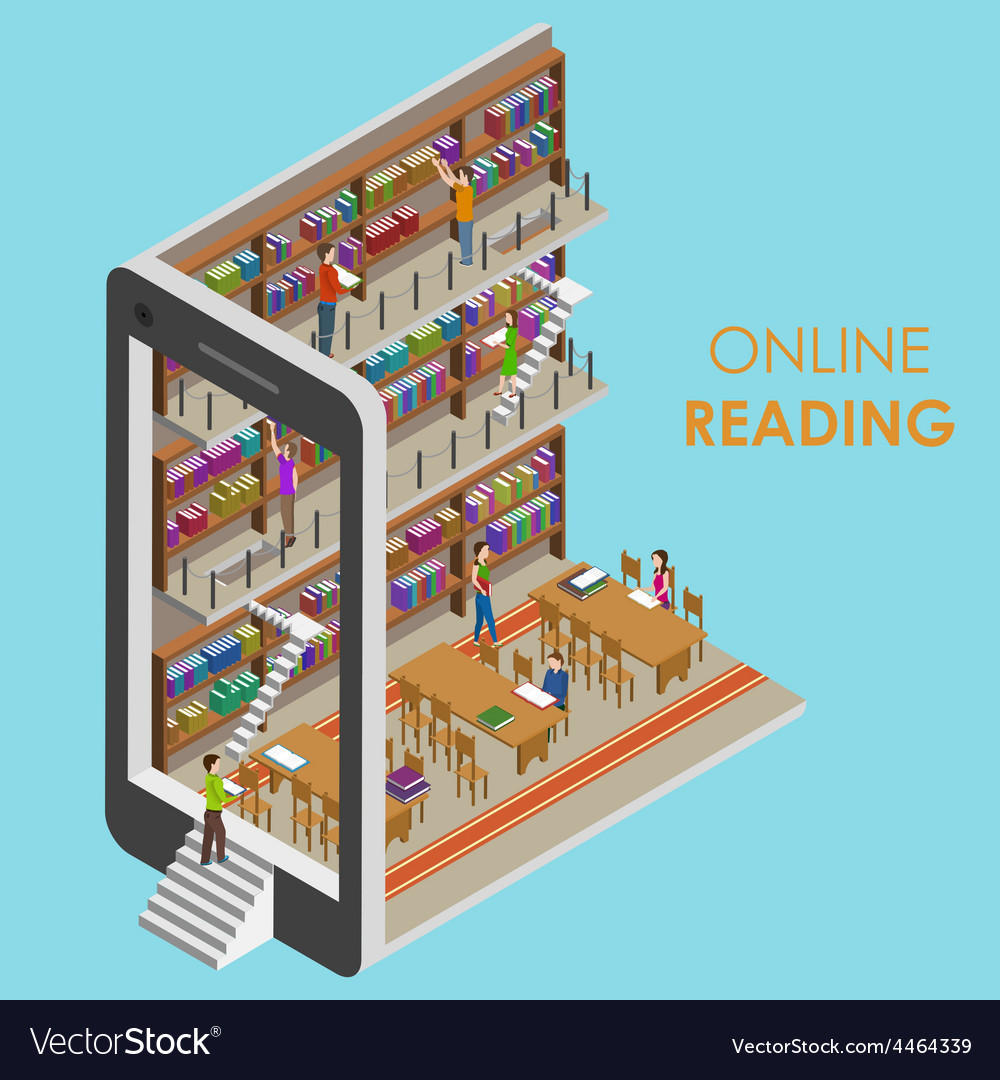 Online reading conceptual isometric vector | Price: 1 Credit (USD $1)