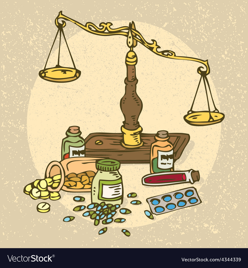 Pharmaceutical scales and pills vector | Price: 1 Credit (USD $1)
