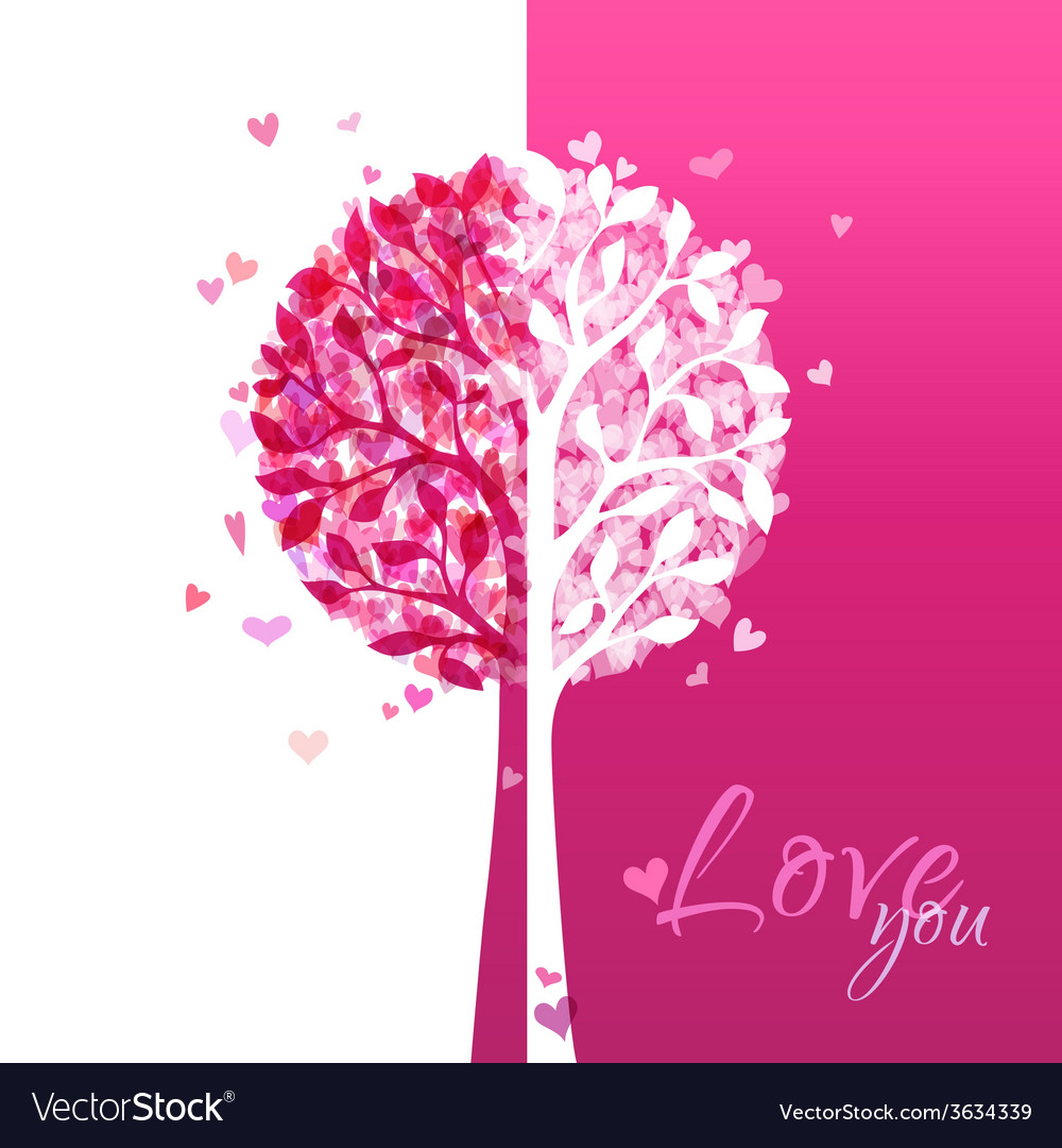 Pink and white love tree vector | Price: 1 Credit (USD $1)