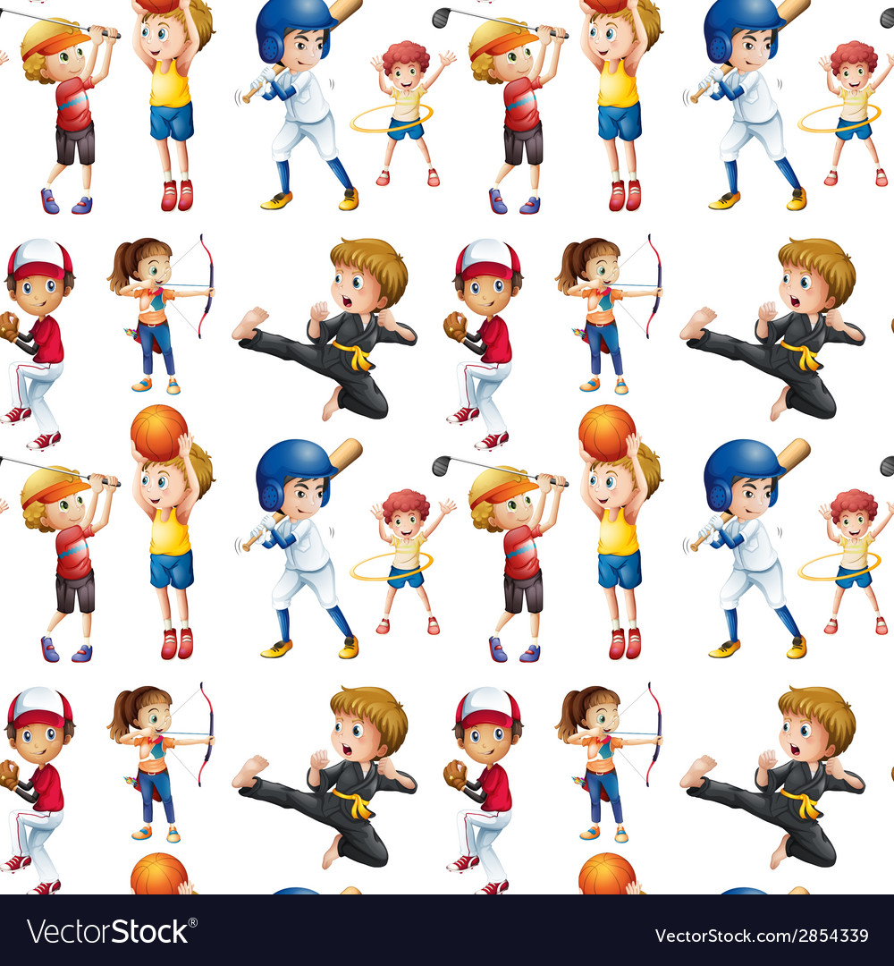 Seamless children and sports vector | Price: 3 Credit (USD $3)
