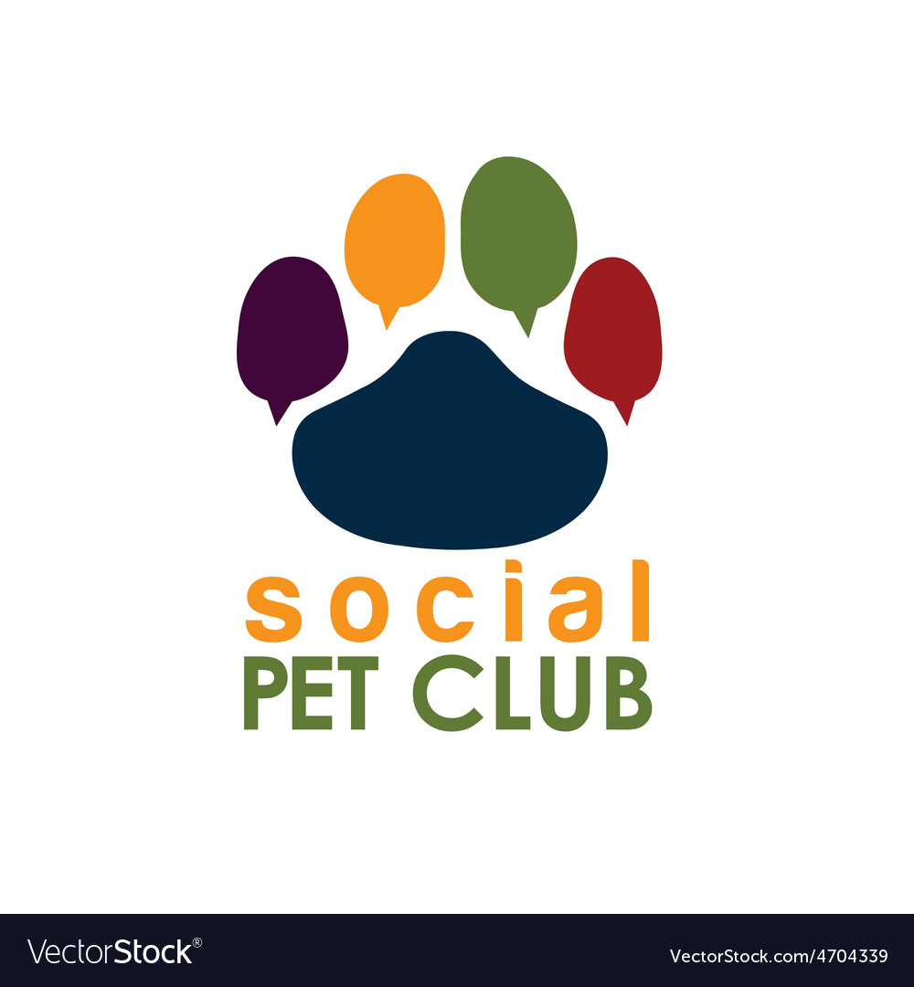 Social pet club paw concept design template vector | Price: 1 Credit (USD $1)