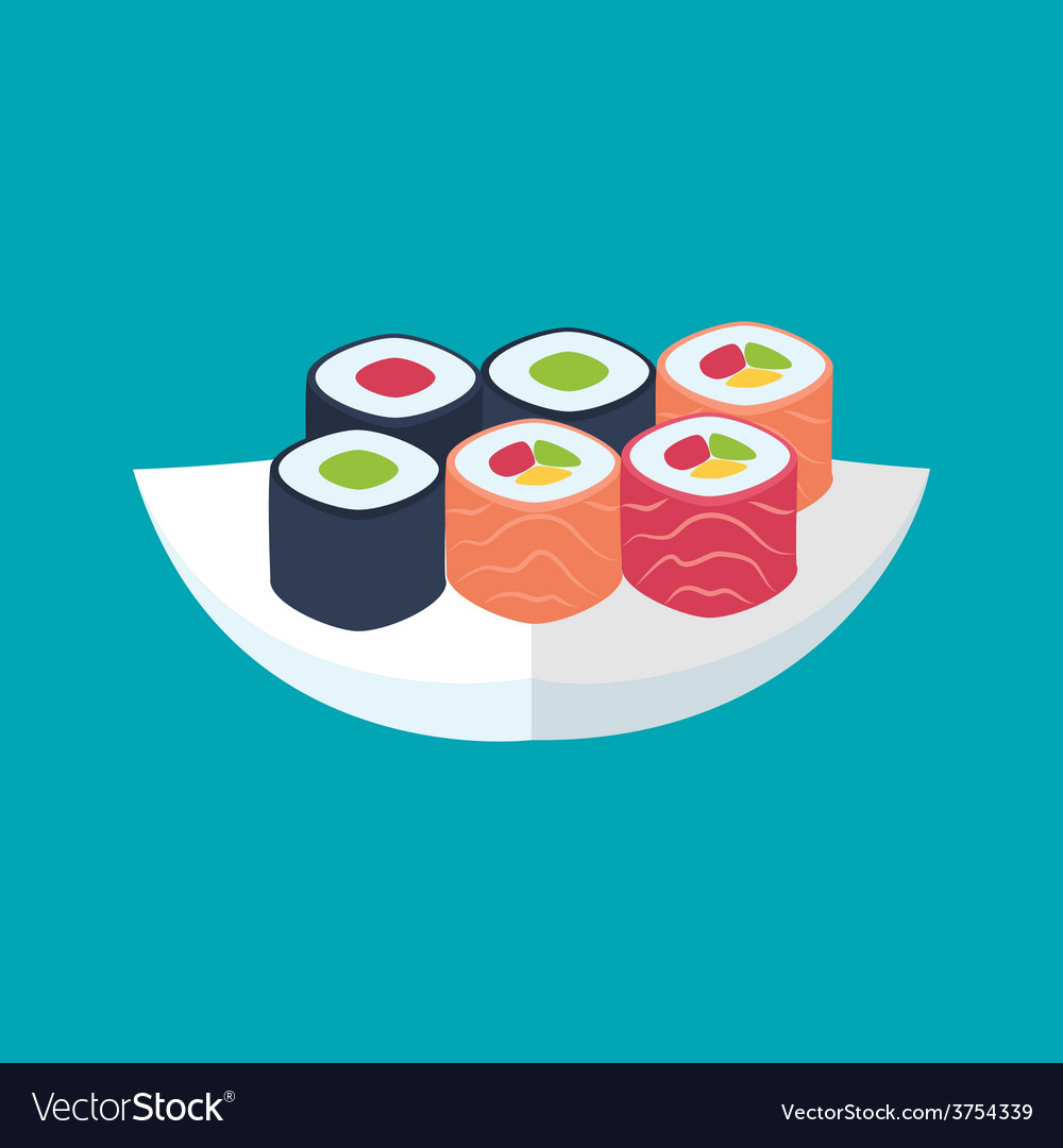 Sushi rolls with tuna and salmon plate vector | Price: 1 Credit (USD $1)