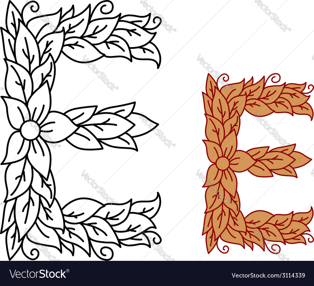 Uppercase letter e in a floral and foliate design vector | Price: 1 Credit (USD $1)