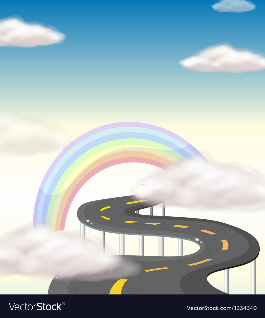A long winding road going to the rainbow vector | Price: 1 Credit (USD $1)