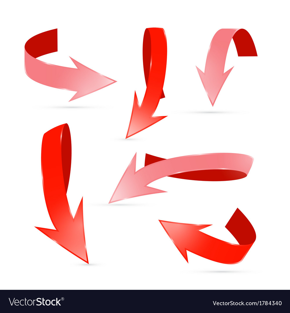 Abstract 3d red arrows set vector | Price: 1 Credit (USD $1)