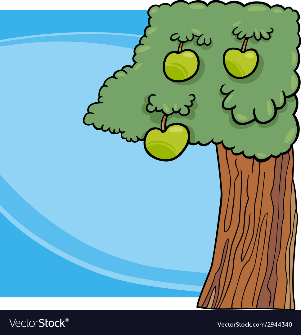 Apple tree cartoon vector | Price: 1 Credit (USD $1)