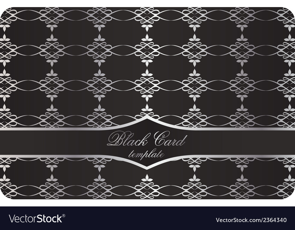 Black decorative card with silver pattern vector | Price: 1 Credit (USD $1)
