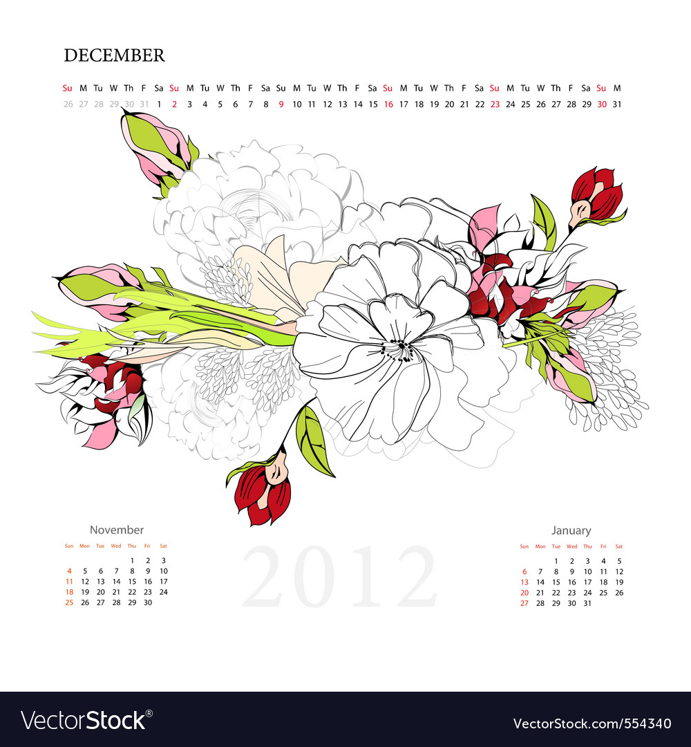 Calendar for 2012 december vector | Price: 1 Credit (USD $1)
