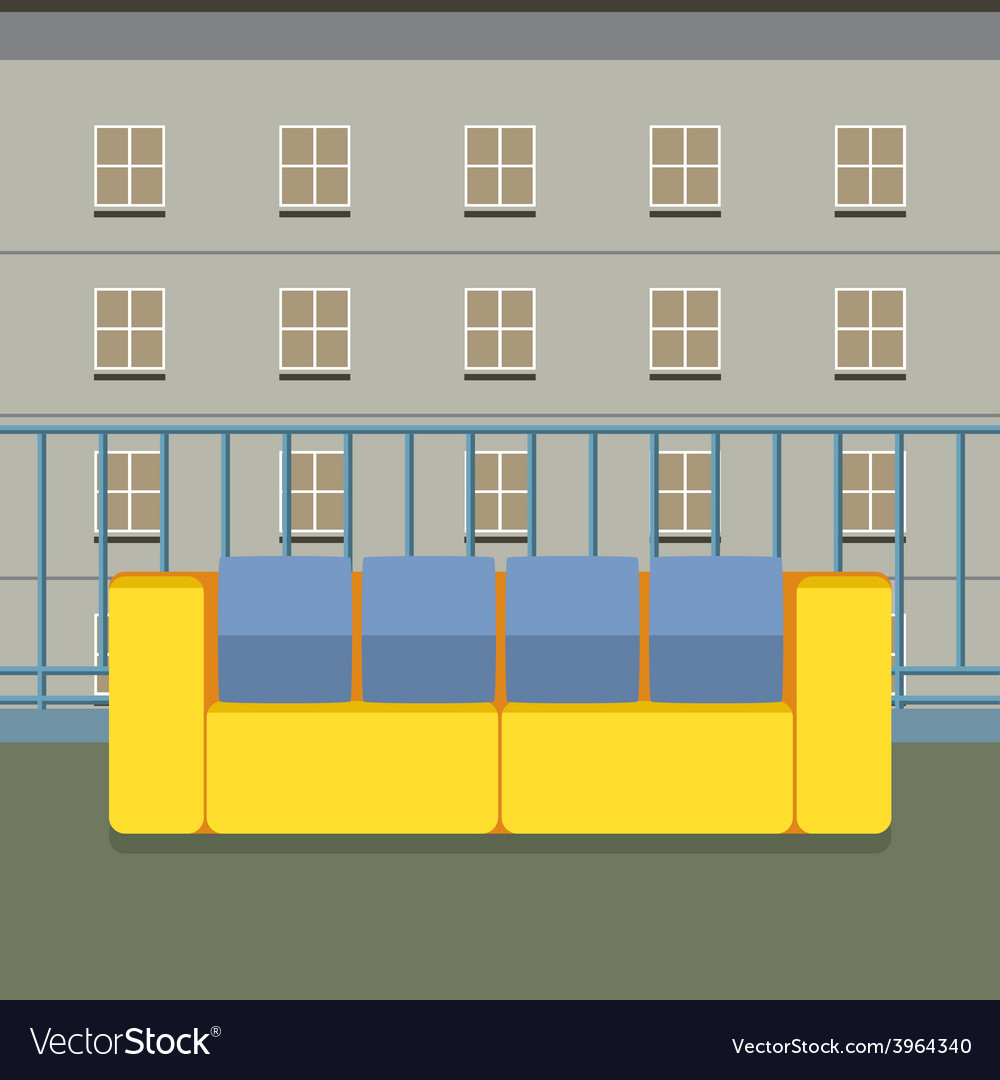 Colorful empty sofa at balcony vector | Price: 1 Credit (USD $1)