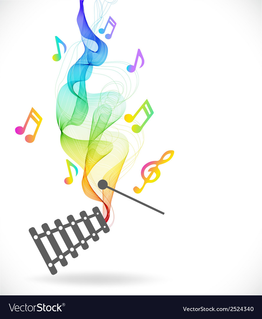 Dark gray xylophone icon with color abstract wave vector | Price: 1 Credit (USD $1)