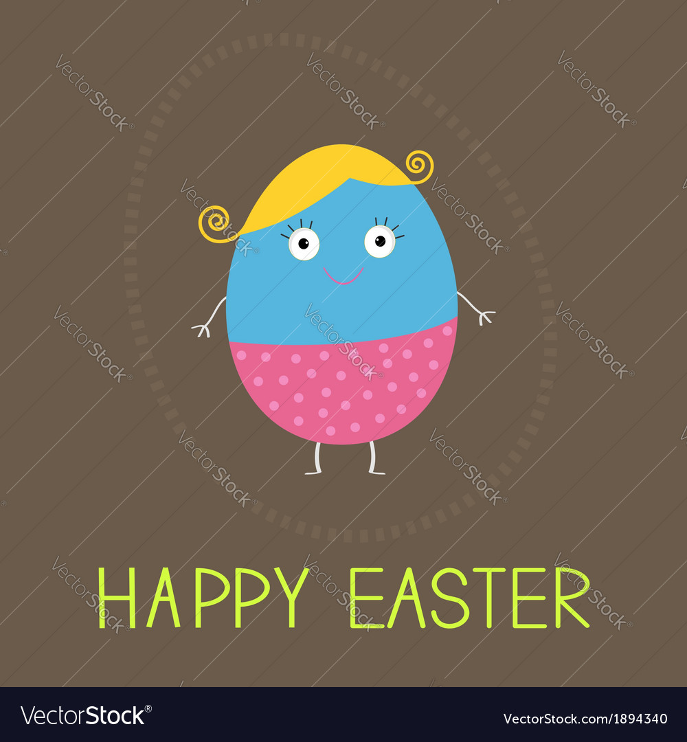 Easter painted egg with cute face card vector | Price: 1 Credit (USD $1)