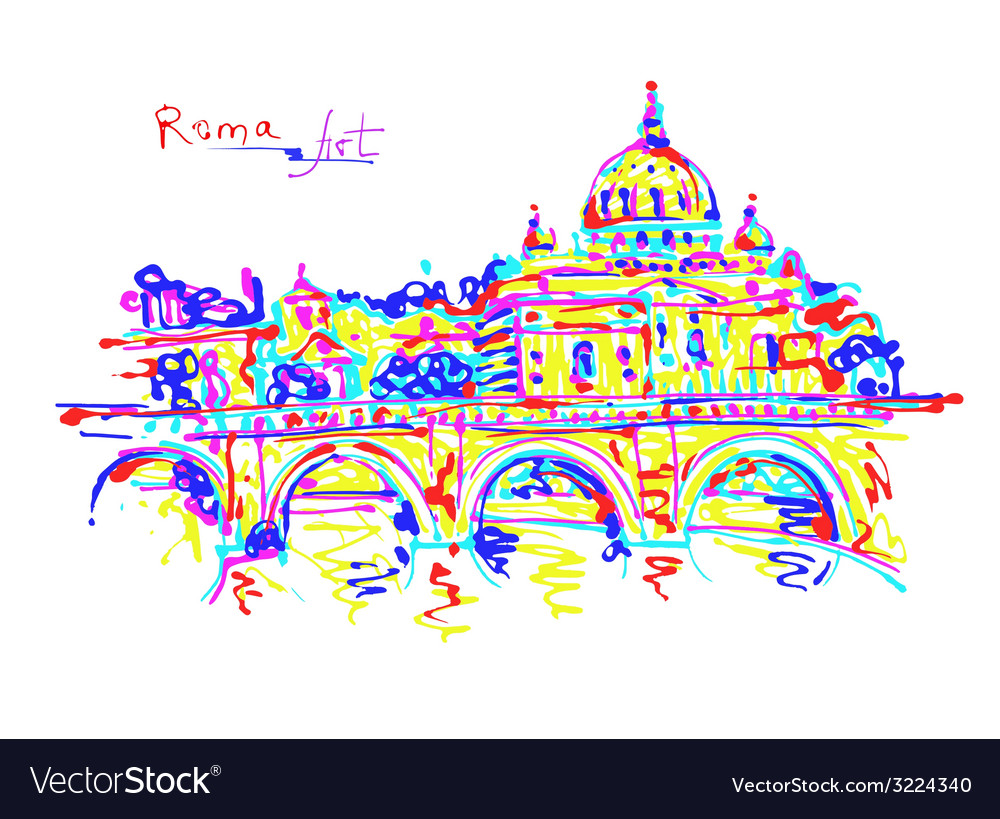 Famous place of rome italy original drawing in vector | Price: 1 Credit (USD $1)