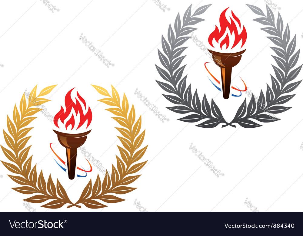 Flaming torch laurel wreath vector