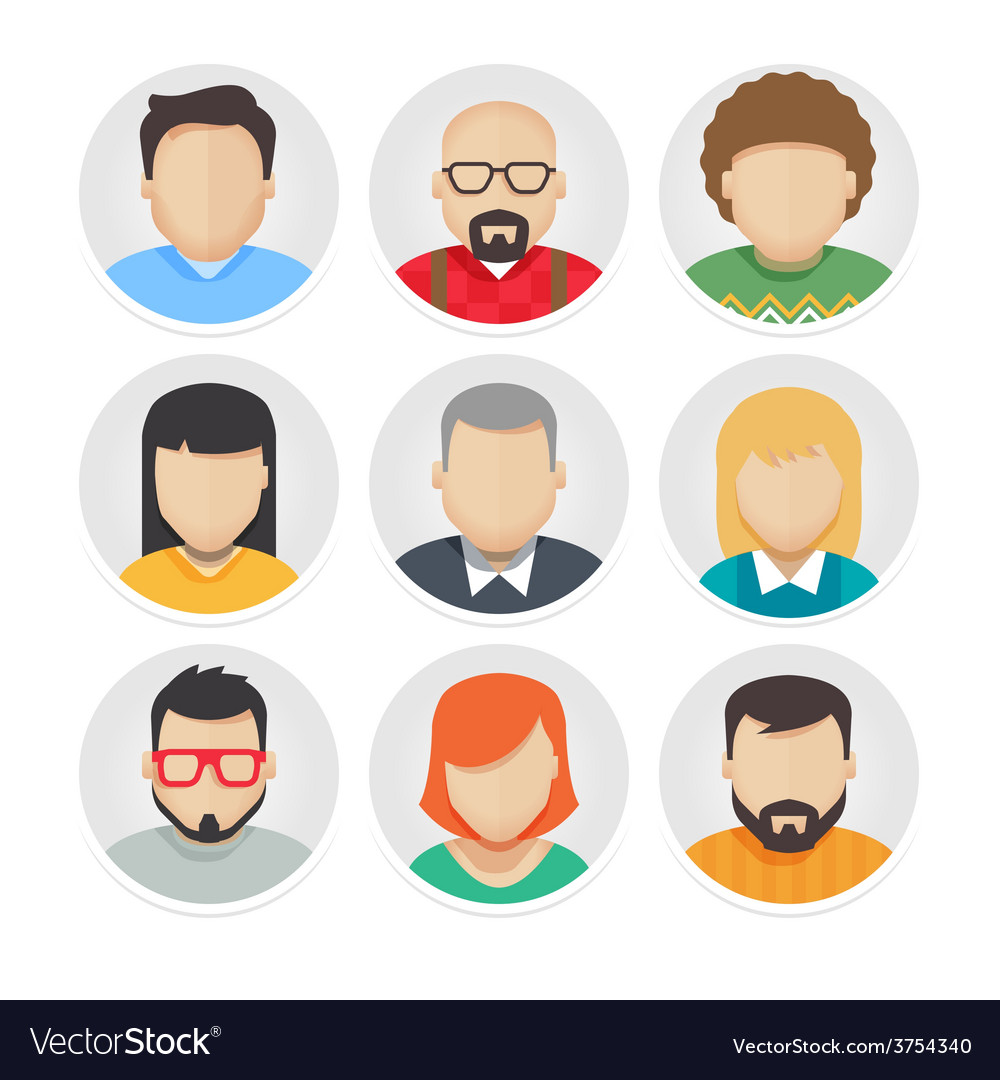 Flat avatar character icons set 1 vector | Price: 1 Credit (USD $1)