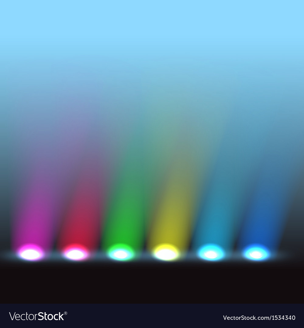 Illuminated stage with different colors lights vector | Price: 1 Credit (USD $1)