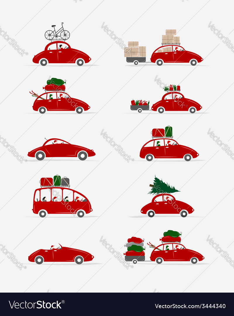 Set of different red cars with luggage for your vector | Price: 1 Credit (USD $1)