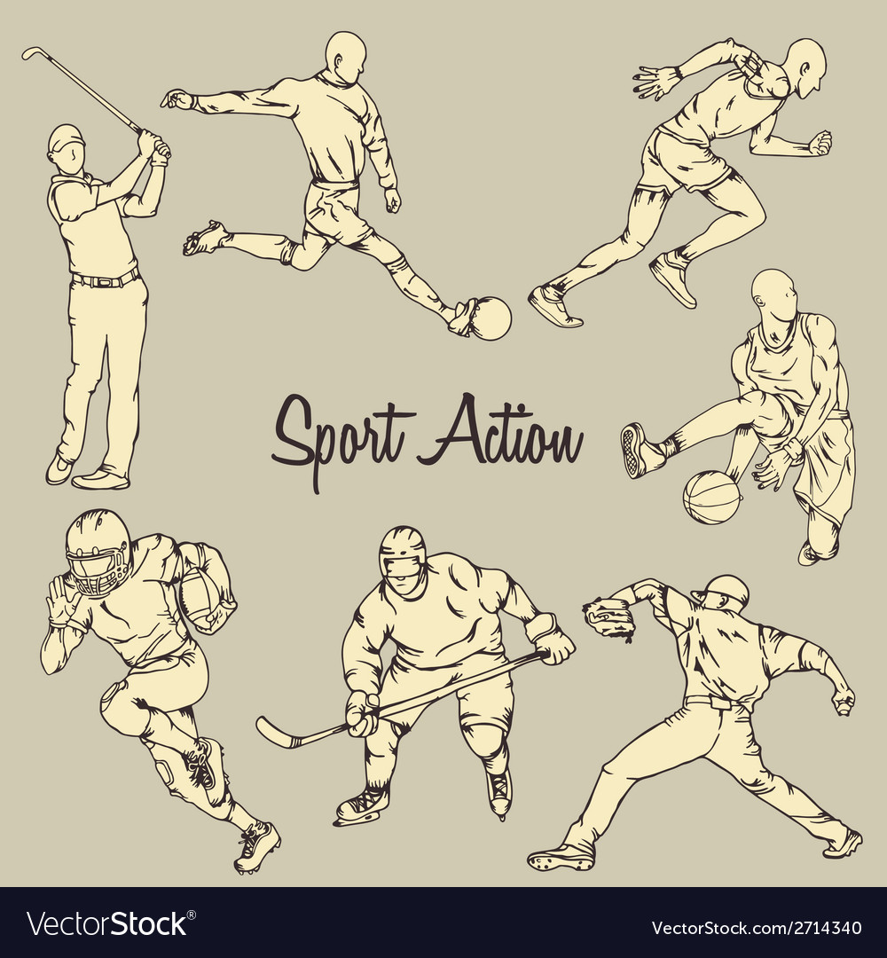 Sport action vintage drawing style vector   Price: 1 Credit (USD $1)