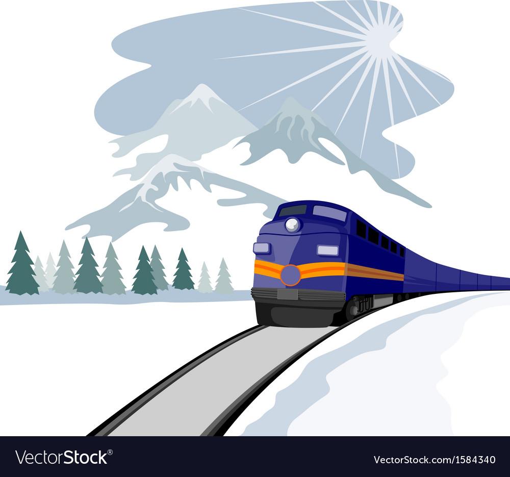 Train and landscape vector | Price: 1 Credit (USD $1)