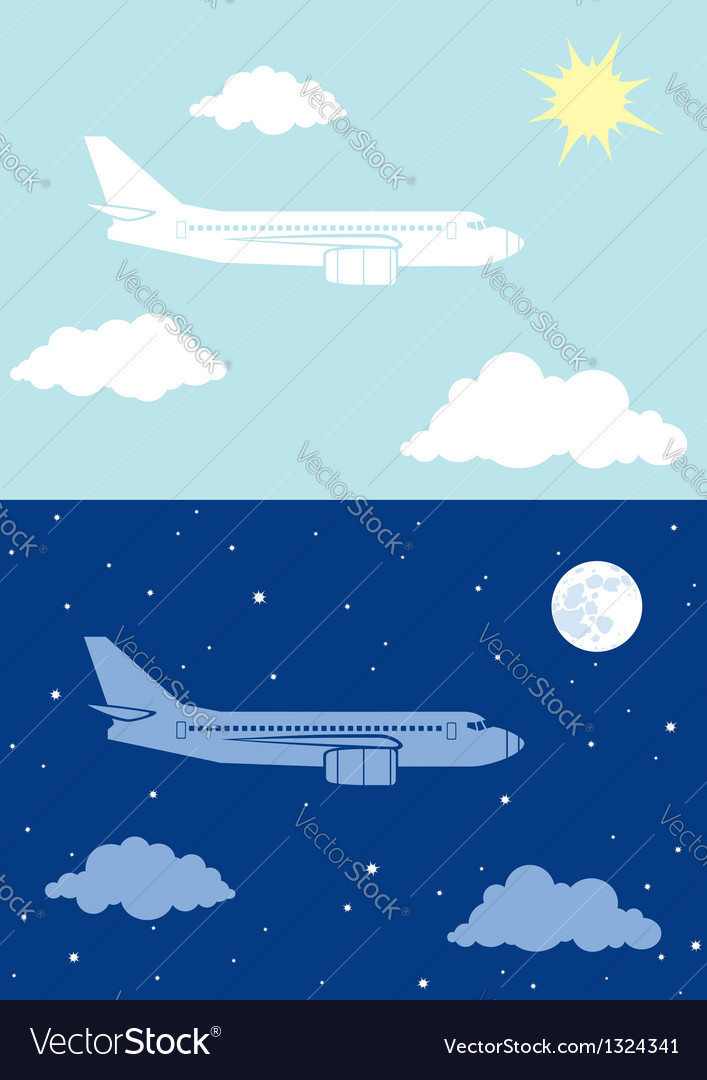 Aircplane flying in the sky vector | Price: 1 Credit (USD $1)