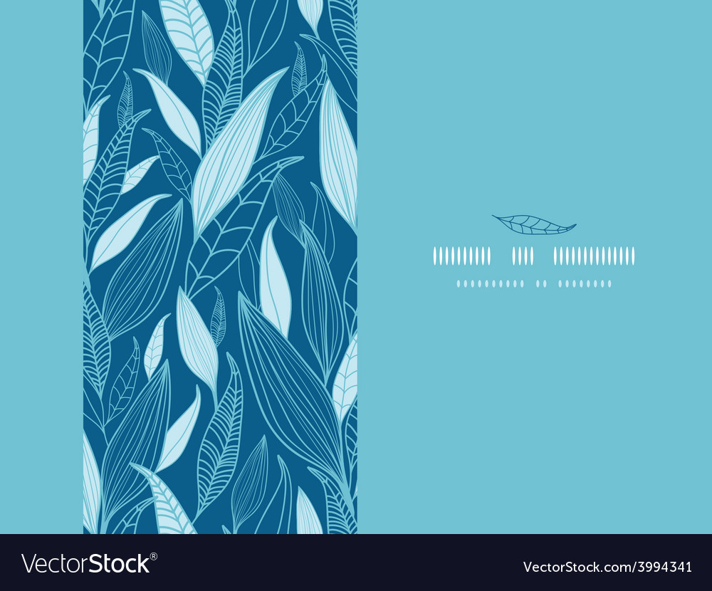 Blue bamboo leaves horizontal seamless pattern vector | Price: 1 Credit (USD $1)