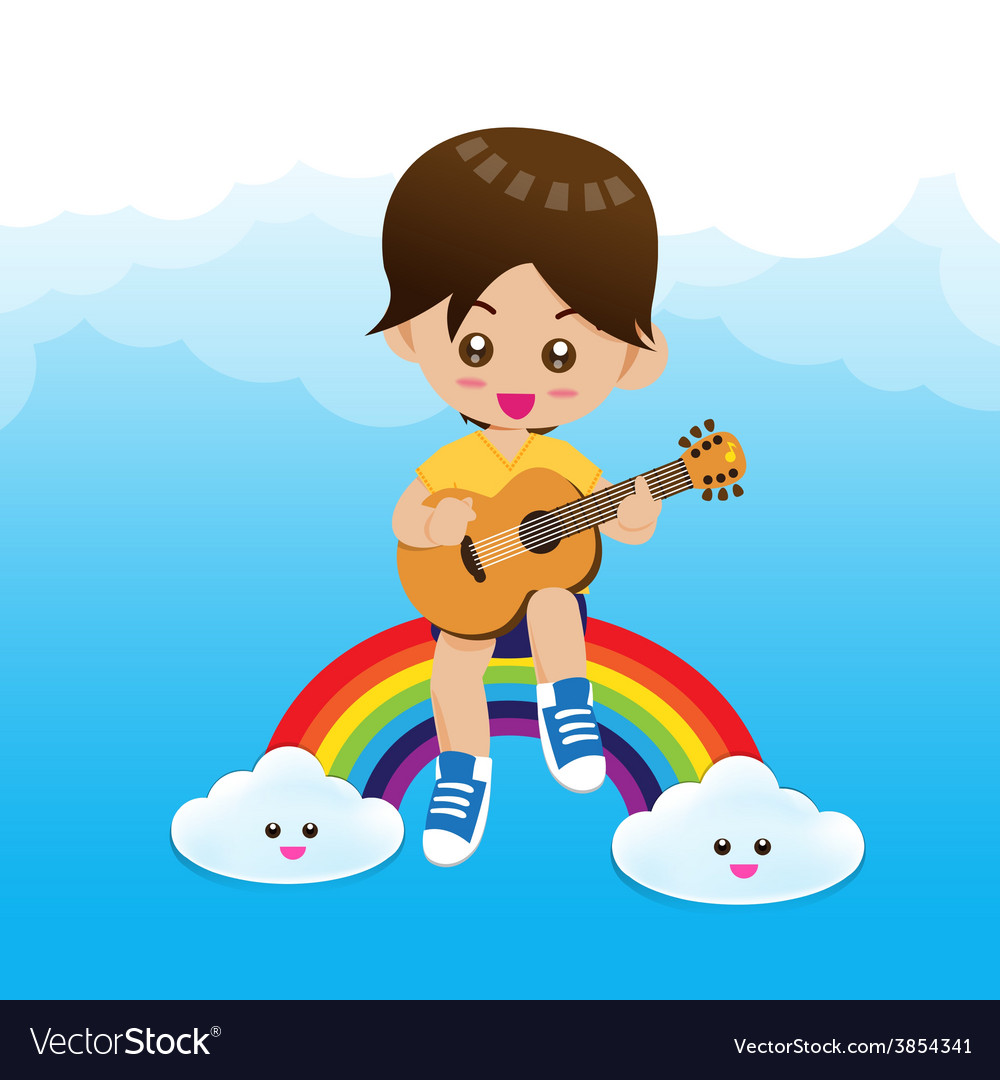 Cute little boy child playing a music guitar on vector | Price: 1 Credit (USD $1)