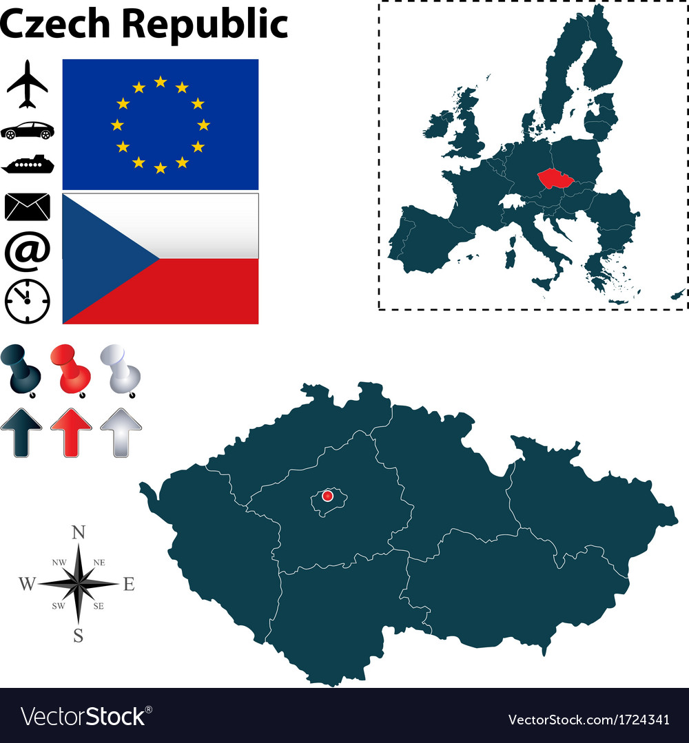 Czech republic and european union map vector | Price: 1 Credit (USD $1)